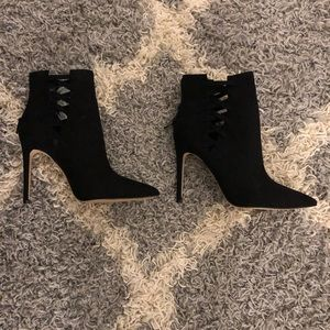 Faux suede heel ankle bootie